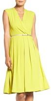 Ellen Tracy Women's Belted Woven Fit & Flare Dress