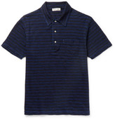 Alex Mill Striped Slub Cotton-jersey Polo Shirt - Indigo