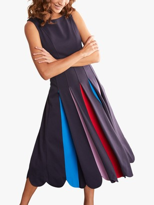 Boden Allegra Ponte Pleated Dress, Navy