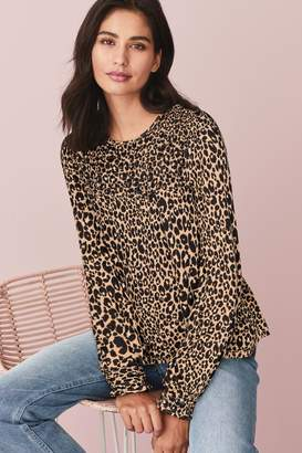 Next Womens Animal Print Smocked Long Sleeve Top - Brown