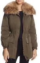 Paule Ka Detachable Real Fur Collar Taffeta Coat