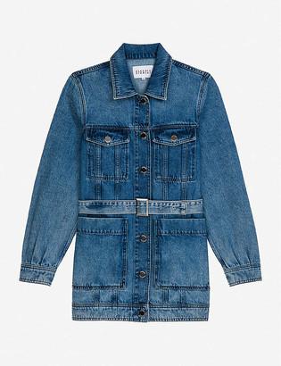 Claudie Pierlot Vroumbise belted longline denim jacket