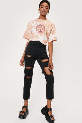 Nasty Gal Womens High-Waisted Distressed Jeans - Black