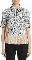 Yigal Azrouel Floral Print Pleat Hem Top