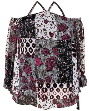 INC International Concepts Inc Women's Patchwork Cold-Shoulder Top, Created for Macy's