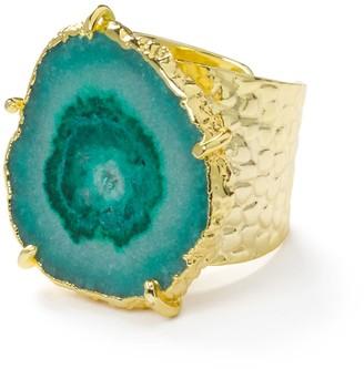 Yaa Yaa London Green Gemstone 'Solar Power' Gold Adjustable Statement Ring