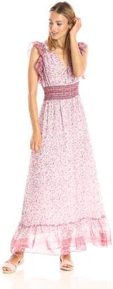 Ella Moon Women's Lacey Ruffle Trim Sleeveless Vneck Smocked Waist Maxi Dress