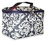 Ever Moda Travel Makeup Bag (Damask - Grey White)