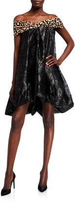 Halpern Bare-Shoulder Balloon Hem Dress