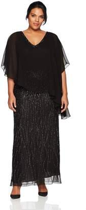 J Kara Women's Plus Size Beaded Bottom Dress with Sheer Top