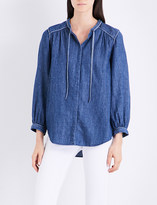 Closed Tie-neck loose-fit chambray shirt