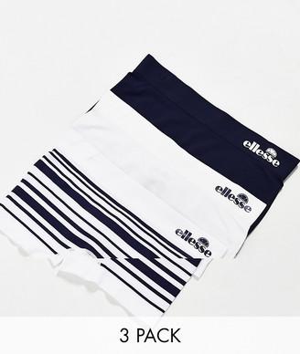 Ellesse seamfree short briefs 3 pack in navy/ white/ stripes