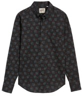 Naked & Famous Denim Men's Black Kasuri Regular Fit Print Sport Shirt