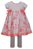Bonnie Baby 2-Piece Butterfly Dress and Legging Set in Grey/Coral