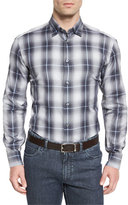 Brioni Ombre Plaid Long-Sleeve Sport Shirt, Gray