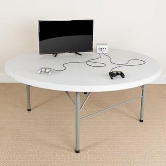 "Flash Furniture Bi-Fold Granite Plastic 71"" Circular Folding Table"