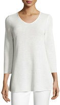 Armani Collezioni Perforated V-Neck Tunic, White