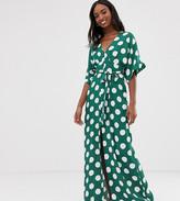 Glamorous Tall maxi dress with kimono sleeves and tie waist in polka dot
