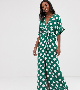 Glamorous Tall maxi dress with kimono sleeves and tie waist in polka dot