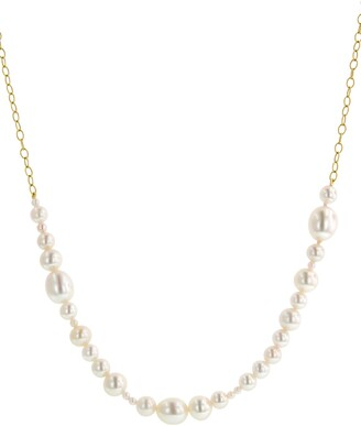 Cathy Waterman Akoya Pearl Tiny Lacy Chain 22K Gold Necklace