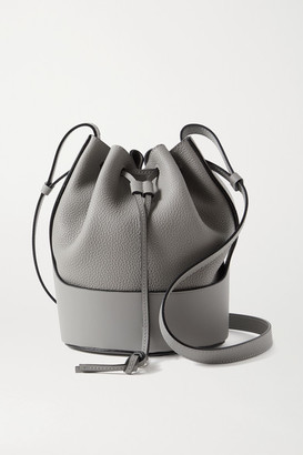 Loewe Balloon Small Smooth And Textured-leather Bucket Bag - Gray