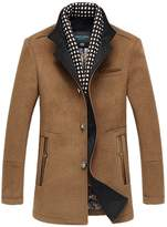 Insun Men's Winter Stand Collar Single Breasted Trench Wool Coat 36