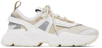 Dolce & Gabbana Beige Stretch Knit Daymaster Sneakers