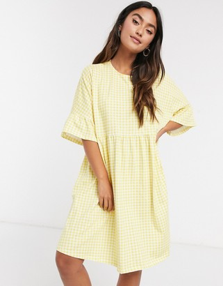 ASOS DESIGN mini smock dress with frill sleeve in yellow gingham print