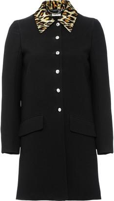 Miu Miu Lurex Leopard Collar Coat