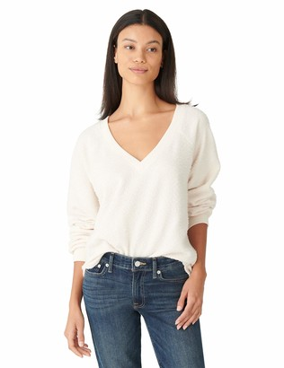 Lucky Brand Women's Long Sleeve V Neck Nubby Fleece Top
