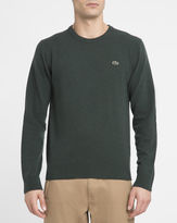 Lacoste Khaki Chest Logo New Wool Round-Neck Sweater