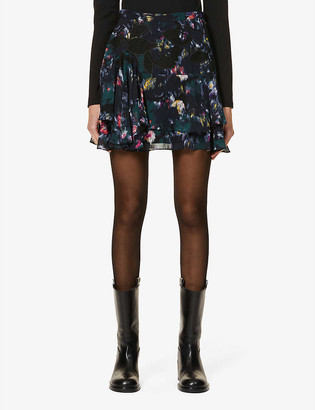 Reiss Nyla tiered floral chiffon mini skirt
