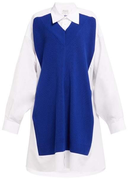 Maison Margiela Wool Panelled Cotton Poplin Shirtdress - Womens - White Multi