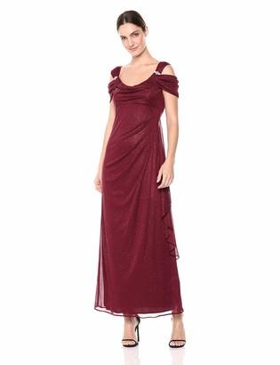 R & M Richards R&M Richards Women's One PCE Long Missy Matte Chiffon Cowl Bodice Dress
