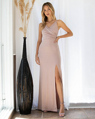 Le Château Sparkle Knit V-Neck Gown