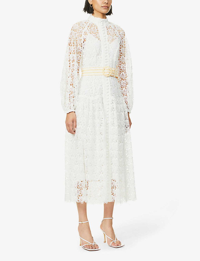 Zimmermann Floral-embroidered puff-sleeve woven midi dress
