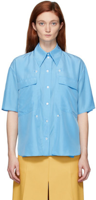 Stella McCartney Blue Silk Button Detail Shirt