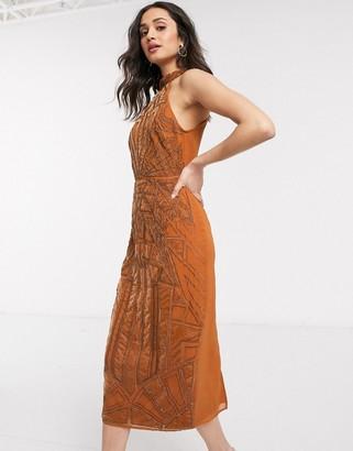 ASOS DESIGN embellished midi dress with velvet embroidered applique in rust
