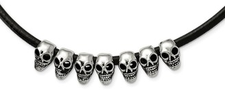 Chisel Stainless Steel Polished/Antiqued Skulls Black Leather Cord Necklace