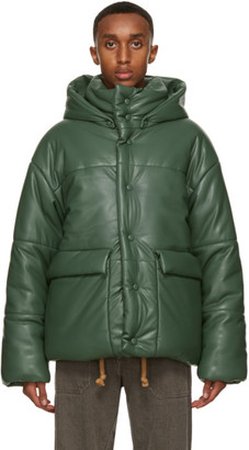 Nanushka Green Faux-Leather Puffer Hide Jacket
