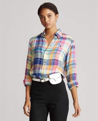 Ralph Lauren Plaid Linen Button-Down Shirt