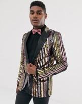 Devils Advocate skinny fit pastel rainbow sequin evening jacket