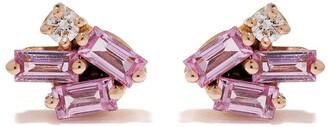 Suzanne Kalan 18kt Rose Gold Diamond Sapphire Stud Mini Cluster Earrings