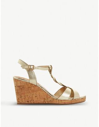 Dune Koala T-bar strap cork wedge-heel sandals