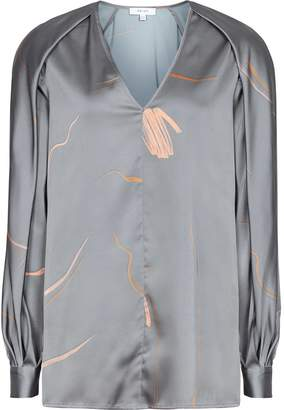 Reiss Pippy - Abstract Printed V-neck Blouse in Grey