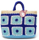 Kilometre Paris - Undercover Crochet And Raffia Basket Bag - Womens - Blue Multi