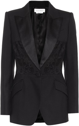 Alexander McQueen Lace-trimmed wool and silk blazer
