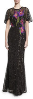 Marchesa Short-Sleeve Floral Sequin Tulle Gown, Black