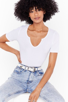 Nasty Gal Womens Western Faux Leather Buckle Belt with Engraved Detailing - White