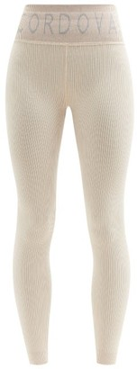 Cordova Logo-jacquard Ribbed-jersey Thermal Leggings - Cream